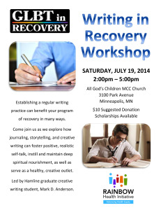 Writing in Recovery Poster - July 2014